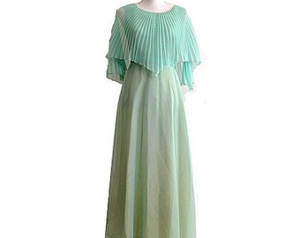 60's mint  green GOWN  maxi  dress  small