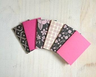 Notebooks: Tiny Journal Set of 6, Black, Pink, Cute Notebooks, Cute, Wedding, Favors, Stocking Stuffer, Gift, Unique, Journals, Kids, T148