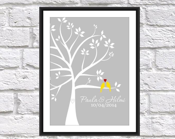 Wedding Tree Love Birds Print - Wedding Gift - Bridal Shower Gift