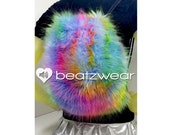 MADE TO ORDER FuZzy backpack rainbow tie dye furry fluffies rave bag festival faux fur purse hippie trippy rad furry boots legwarmers