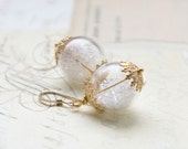 Transparent Hollow Glass Earrings Gold White Round Ball Earrings