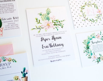 Modern Cactus Wedding Invitation southwestern rustic chic cactus succulent garden polka dot with RSVP watercolor wreath - DEPOSIT LISTING