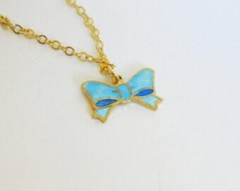 Sky Blue Enameled Bow Necklace