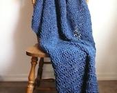 Blue Throw Blanket, Crochet Blanket, Soft Crochet Throw Blanket