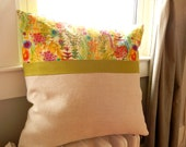 "Green grass and spring flowers zippered pillow cover- 20"" X 20"" - Natural and Green linen and Liberty of London fabric"