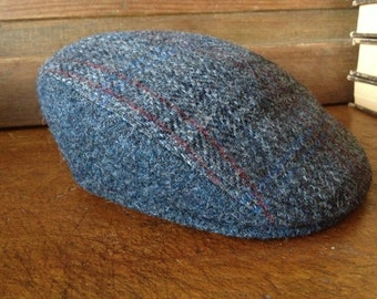 Vintage Scottish Harris Tweed Made in France ~ Flat Cap Newsboy Hat ~ 100% Scottish Laine Wool ~ Blue Gray Plaid