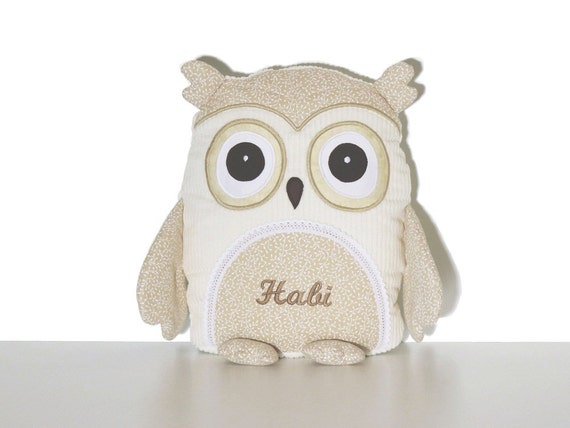 Stuffed Animal, Stuffed Owl Toy, Personalized Owl Pillow case