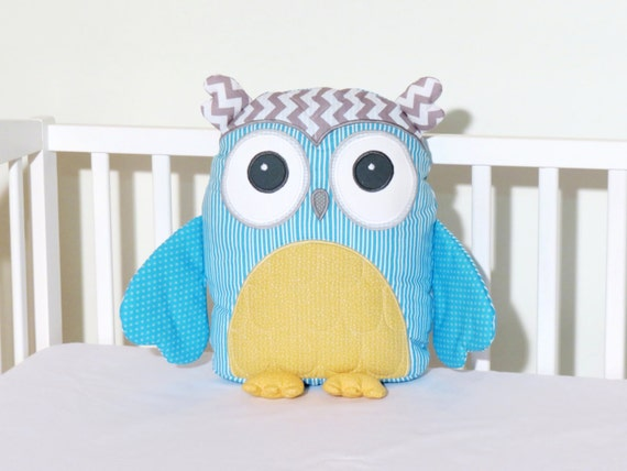 Stuffed Owl Pillow,  Custom  Owl,  Gender Neutral Owl, Accent Pillow, Gray Chevron, Aqua Blue, Custard Yellow