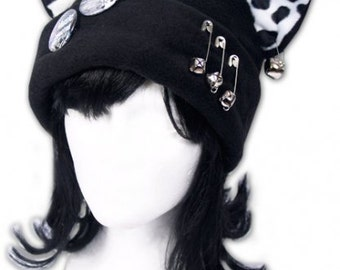 Cat Kitty Twinkle Fleece Hat  Anime Cosplay Punk JRock (Safety Pins with Bells)