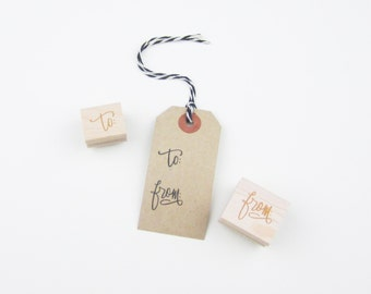 To & From Stamps - hand lettered to and from stamp set - calligraphy to from stamps - gift tag stamps - christmas wrapping - gift wrap K0028