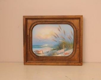 Vintage SIGNED Boat Painting Ocean Beach Wood Frame
