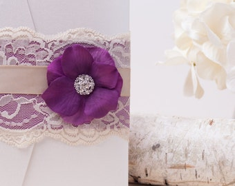 VINTAGE GLAMOUR: Elegant Lace Wedding Invitation, Plum Purple Wedding Invitation, Flower Invitation, Vintage Wedding Invitation