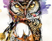 "Owl Sounds- 8.5""x11"" Great Horned Owl Watercolor Painting Print"