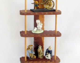 Wooden Knick Knack or Trinket Shelf Shadow Box - Free Standing or Wall Hanging - Three Tiered - Rustic Vintage Home Decor