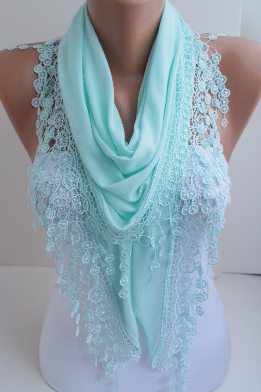 baby blue shawl scarf cyan scarf lace shawl scarf triangle