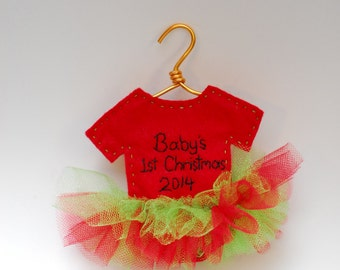 Baby's 1st Christmas 2017 red and green tutu ornament- customizable
