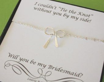 Tie the knot Bracelet Bridesmaid, Will you be my Bridesmaid, Will you be my Maid of Honor, Sterling Silver Bow, Silver Knot Bracelet