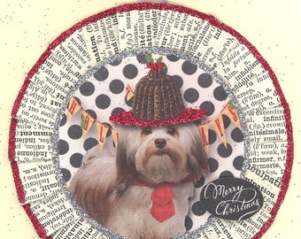 Lhasa Apso | Dog Christmas Ornament | Vintage Style