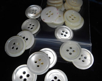 """Reduced! 50 Vintage White Troca Shell Buttons, 3/4"""", 4-hole, Gorgeous!"""