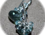 Moss Aquamarine Cluster Earrings Faceted Moss Aquamarine Onion Cut 925 Sterling Silver Cluster Earrings