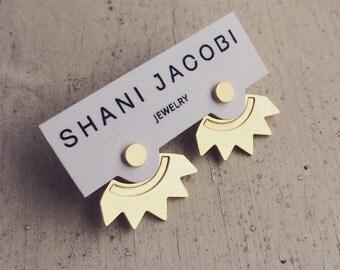 Sun Ear Jackets, Gold Jacket Earrings, Sun Stud Earrings, Front Back Earrings, Gold Front Back Earrings, Fashion Earrings Gold Boho Earrings