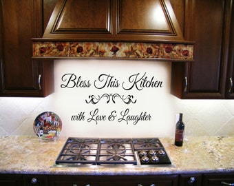 Bless this Kitchen with Love and Laughter Decal Family Home Vinyl Wall Lettering Decal Stickers