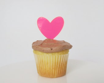Neon pink heart cupcake toppers decoration - set of 6