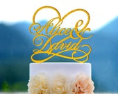 Wedding Cake Topper Monogram Mr and Mrs cake Topper Design Personalized with YOUR Last Name 030
