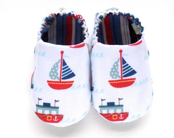 Nautical Baby Boy Shoes with Sailboats, 0-6 mos. Baby Booties, Soft Sole Shoes, Sailboats, Boy Crib Shoes, Slip on Baby Shoes, Baby Gift
