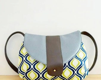 Purse - Over the shoulder faux leather and canvas purse in teal, brown, green and blue / shoulder bag / medium bag / small bag / leather bag
