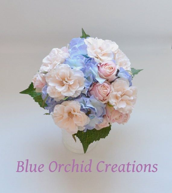Pink Garden Rose And Hydrangea Bouquet hydrangea bouquet blue hydrangeas country wedding bouquet