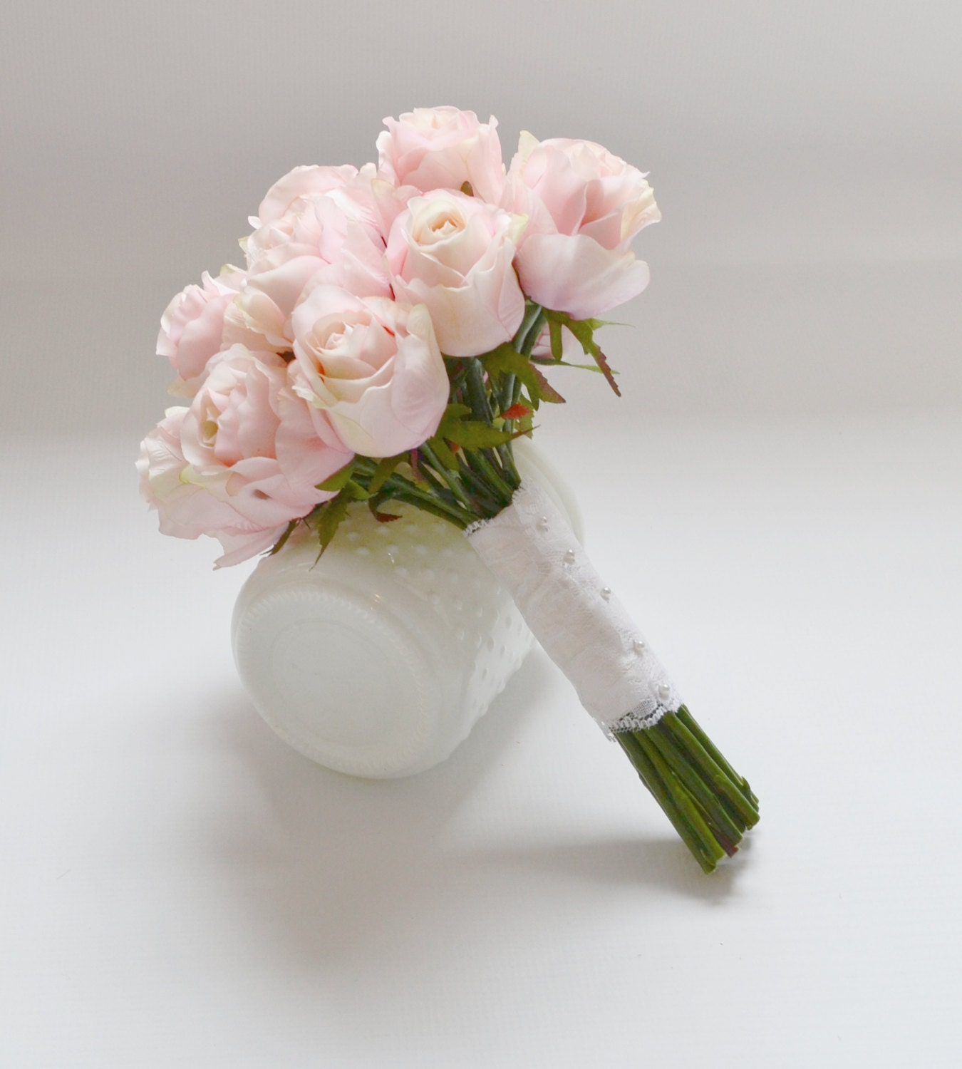 Bridal Flowers Blush Pink : Rose bud bouquet pink blush