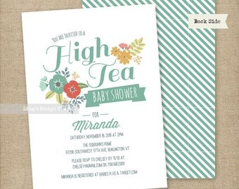 High Tea Baby Shower Invitations Set | Printable or Printed