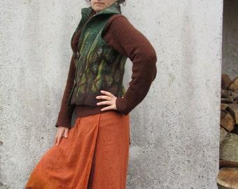 Nuno felt ~ Wrap skirt ~ Rust ~ Woodland ~ Pixie skirt ~ Cotton Petticoat