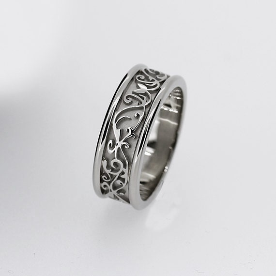 Wide White Gold Filigree Wedding Band Men Ring Modern Custom Engagement Lace