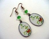 Butterfly Earrings, Floral Earrings, Green, White and Orange, Antique Brass Earring, Long Dangle Earring, Womens Jewelry, Butterfly Earrings