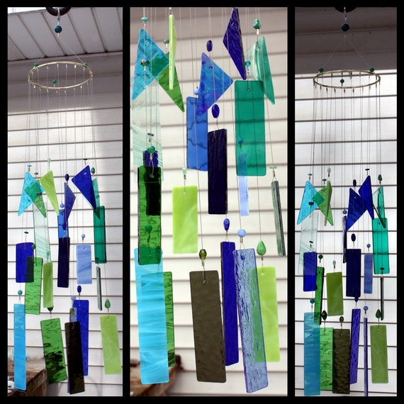 Wind Chime, Stained Glass Chime, Glass Windchime, Blues and Greens, Garden Decor, Home Decor