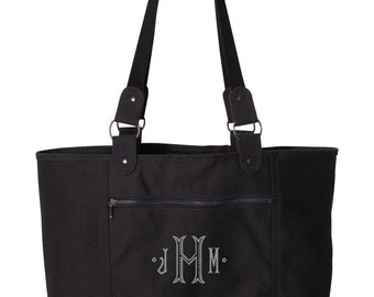 Black Canvas Monogrammed Tote Bag - light weight canvas tote