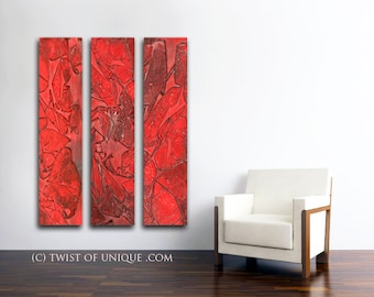 Industrial Watercolor Painting / CUSTOM  3 painting set  48x10 / Urban Industrial Watercolor/  Oversized Abstract Painting/  Red, Black