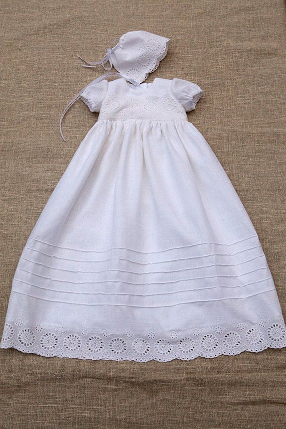 Baby girl baptism dress girl heirloom linen gown special