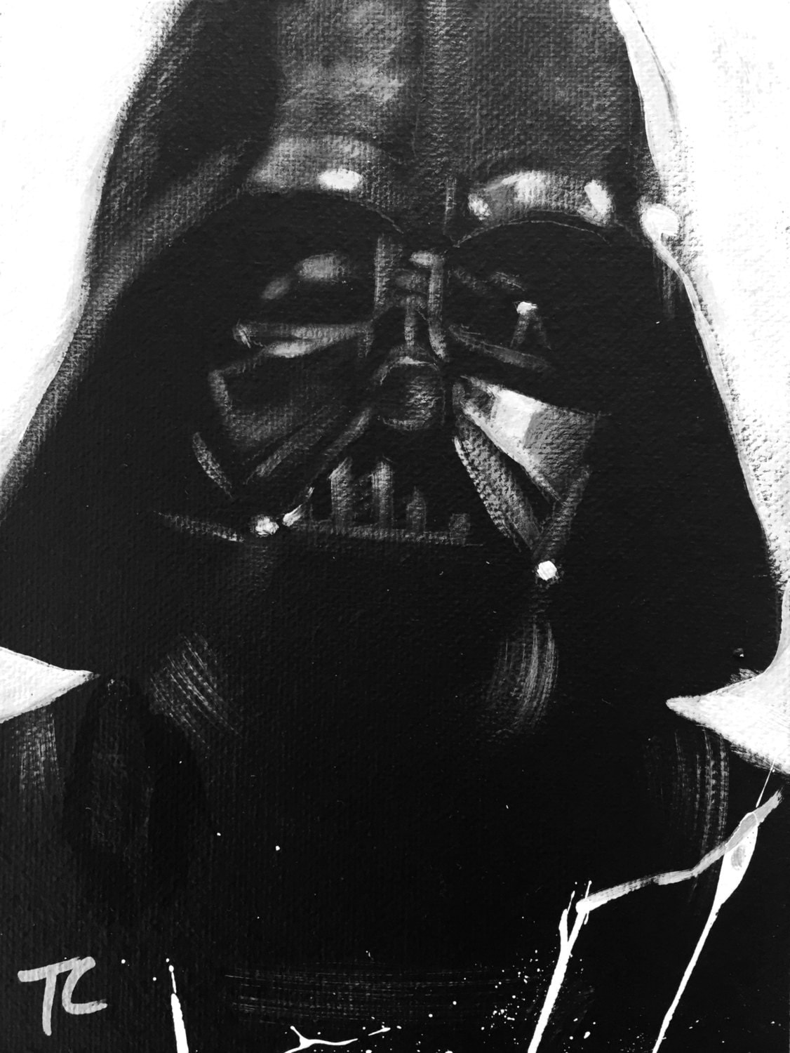 Darth vader black white art portrait by selphroadstudios for Darth vader black and white