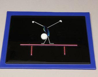 Balance! Balance Beam Gymnastics Fused Glass Wall Art -- Sports Series