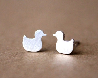 Tiny Sterling Silver Duck Post Earrings - Handcrafted Silver Jewelry - Silver Earrings - Silver Stud Earrings - Post