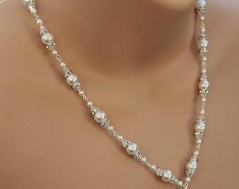 Bridal Wedding Necklace Pearl Crystal Swarovski Pendant Necklace 'Marianne'