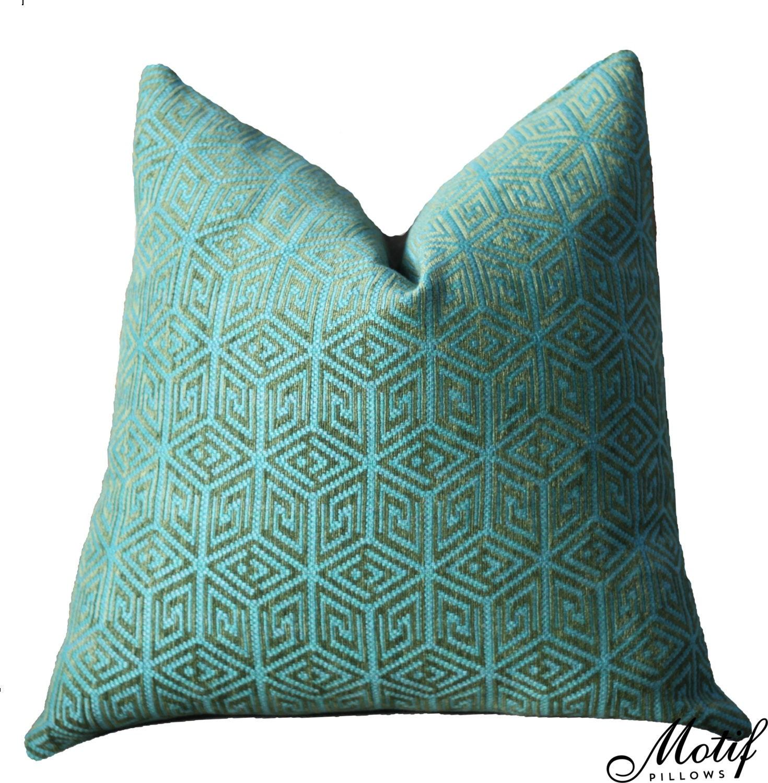 Schumacher Pillow Cover Teal Blue Green Geometric Pillow