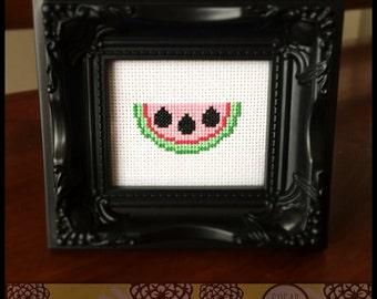 Cute Kawaii Watermelon Cross Stitch Pattern ( Printable PDF )  - Immediate Download from Etsy -  Sweet Juicy Fruit