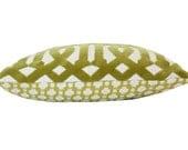 Chartureuse  Velvet Imperial Trellis and Betwixt Designer Lumbar Pillow Cover in Schumacher Fabric