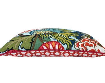 Schumacher Aquamarine Chiang Mai Dragon Pillow Cover With Red Piping and Betwixt Backing