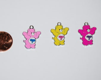 Cute Care Bear Enamel Clip Charm, zipper pull, backpack, cell phone, purse clip, jewelry or scrapbooking