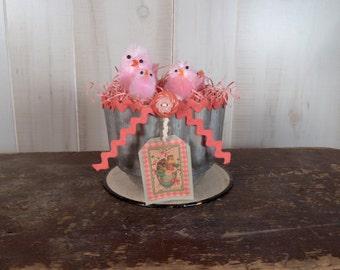 Primitive Easter Decor Vintage Tin Basket Shabby Chic